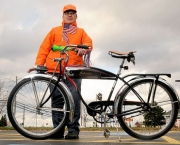 Richard Dushantinsli stands with one of his prized bikes, a  1951 Schwinn Panther bike which he refurbished and has had for 19 years. Dushantinsli, who is autistic, recently had one his other prized bikes stolen which was a 1950 Shelby Flyer.  Photo By Frank OrdoÒez / The Post-Standard